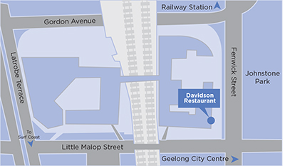 The Davidson Restaurant is located on the corner of Fenwick and Little Malop Street - map